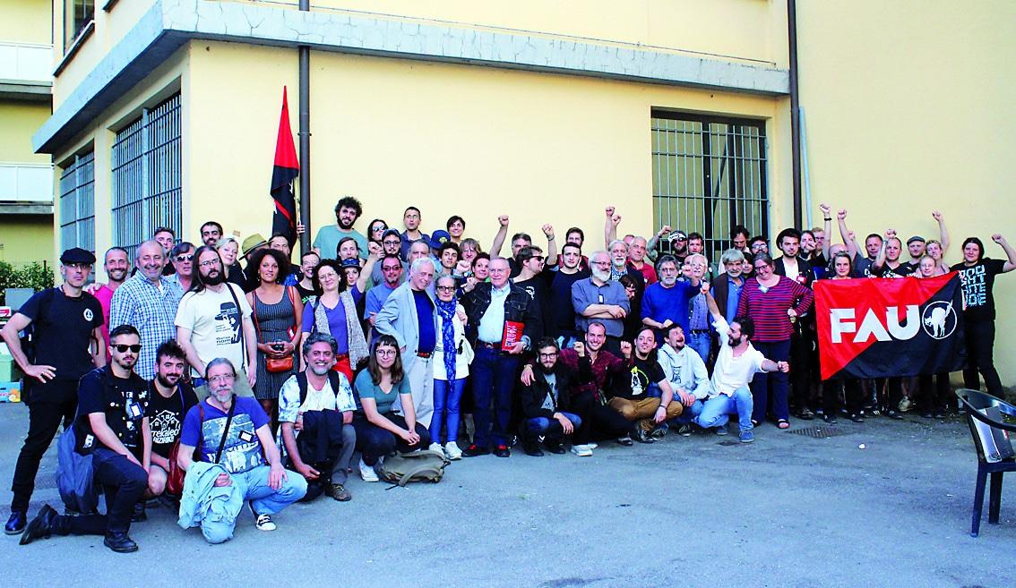 Delegaciones de CNT, FAU, USI y FORA al congreso fundacional de la CIT en 2018, en Parma (Italia). / UsI.